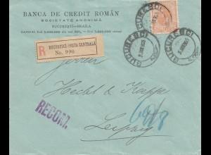 Rumänien: 1905: Bucuresci nach Leipzig als Einschreiben