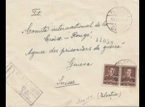 Rumänien: 1943: Einschreiben Ploesti nach Genf, Zensur