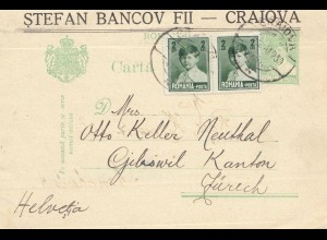 Rumänien: 1930: Karte Craiova nach Zürich