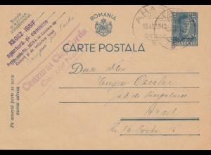 Rumänien: 1942: Ganzsache Arad mit Zensur