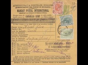 Rumänien: 1907: Mandat Postal International: Butosani nach Zürich