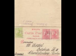 Rumänien: 1915: Karten Brief nach Berlin