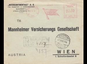 Rumänien: 1934: Bucaresti Einscheiben nach Wien