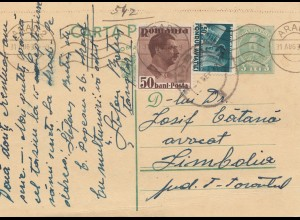 Rumänien: 1937: Ganzsache Arad nach Limbola