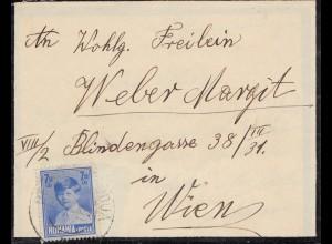 Rumänien: 1929: Trauerbrief nach Wien, mit Inhalt