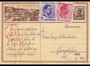 Rumänien: 1940: Ganzsache Bucarest nach Gangkofen, Zensur