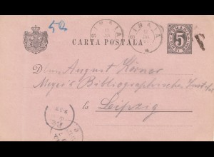 Rumänien: 1893: Ganzsache Sinaia nach Leipzig