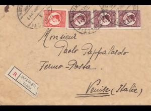 Rumänien: 1931: Einschreiben Bucuresti nach Italien