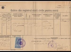 Rumänien: 1909: Danesti: registrul starii civile pentru morti