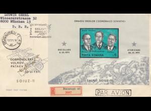Rumänien: 1971: Bucuresti nach München, Luftpost Einschreiben - Raumfahrt
