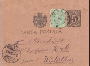 Rumänien: 1894: Ganzsache Galati nach Winterthur