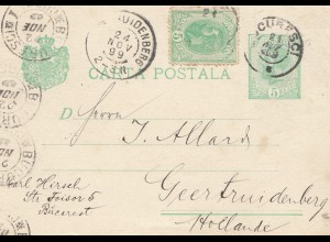 Rumänien: 1899: Bucarest Ganzsache nach Geertruidenberg - Holland