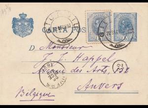 Rumänien: 1897: Ganzsache von Giursiu nach Belgien