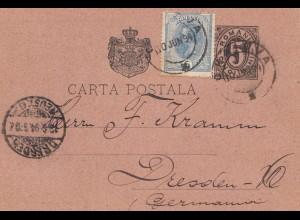 Rumänien: 1894: Ganzsache nach Dresden