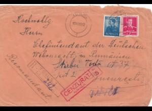 Rumänien: 1942: Teius nach Bucaresti, Chefintendant Wehrmacht, Zensur