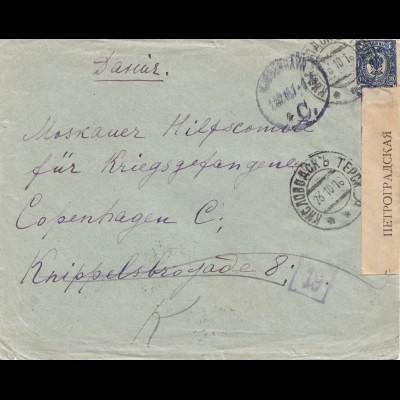 Russland: 1916: Brief nach Copenhagen, Zensur