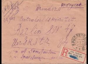Russland: 1922: Einschreiben nach Berlin