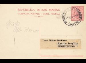 San Marino: 1928: Ganzsache nach Berlin
