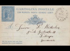 San Marino: 1880 Ganzsache P2 mit Antwortkarte nach Tübingen