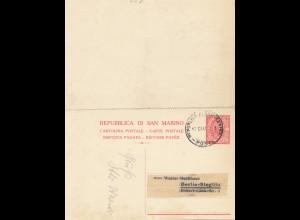 San Marino: 1928 Ganzsache P20 nach Berlin, mit Antwortkarte