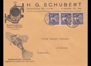 Schweden: Brief von Alingsas nach Augsburg - Wasser-Technik