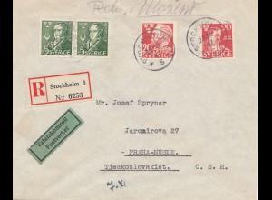 Schweden: 1947: Einschreiben Stockholm nach Prag, Zensur