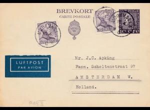Schweden: 1946 Ganzsache als Luftpost nach Amsterdam