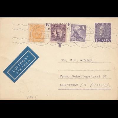 Schweden: 1946 Ganzsache Uddevalla nach Amsterdam