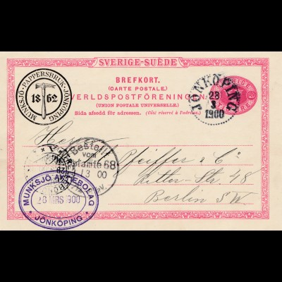 Schweden: 1900: Ganszsache Jonköping nach Berlin