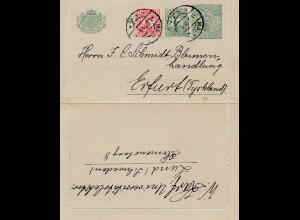 Schweden: 1914: Ganzsache Kartenbrief nach Erfurt