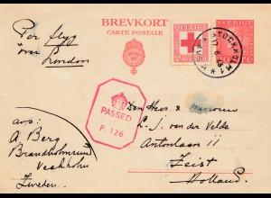 Schweden: 1945: Rotes Kreuz Stockholm nach Holland - Zensur