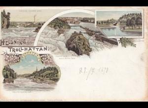Schweden: 1898: Ansichtskarte Helsing Trollhättan