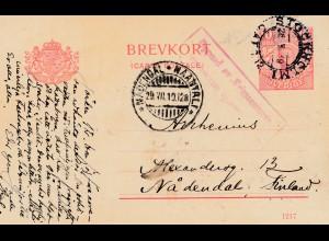 Schweden: 1919: Ganzsache nach Nädendal Finnland