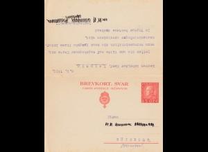 Schweden: 1922: Ganzsache P45 Göteborg nach Leipzig-Gebr. Senf mit Antwortkarte