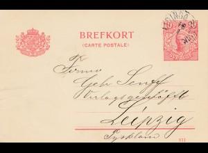 Schweden: 1914: Ganzsache nach Leipzig