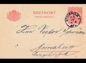 Schweden: 1914: Ganzsache Stockholm nach Annaberg