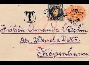 Schweden: 1896: Brief nach Kopenhagen, Nachgebühr