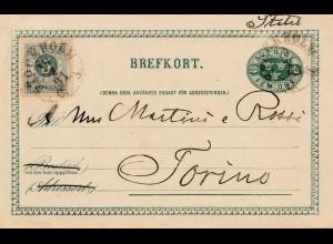 Schweden: 1891: Ganzsache nach Torino/Italien