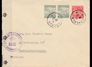 Schweden: 1947: Mölle nach Hamburg, Britische Zensur