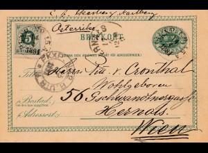 Schweden: 1891: Ganzsache nach Wien