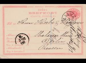Schweden: 1879: Ganzsache Malmö nach Berlin, Vorläufer, issued 1880