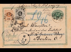 Schweden: 1889: Ganzsache nach Berlin