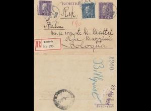 Schweden: 1925: Kartenbrief als Einschreiben Enskede nach Bologna