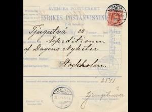Schweden: Paketkarte 1904 Linköping nach Stockholm