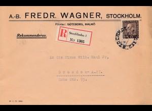Schweden: 1932: Einschreiben von Stockholm nach Dresden