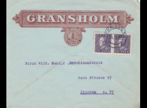 Schweden: 1921: Gansholm Gemla nach Dresden