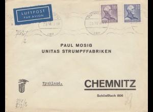 Schweden: 1941: Lufpost von Stockholm nach Chemnitz - Strumpffabrik, Zensur
