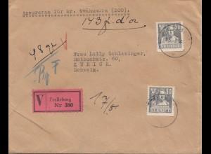 Schweden: 1941: Wertbrief Trelleborg nach Zürich
