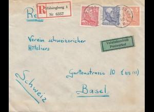 Schweden: 1950: Einschreiben Hälsingborg nach Basel, Devisenkontrolle