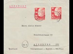 Schweden: 1948: Luftpost Uppsala nach Augsburg